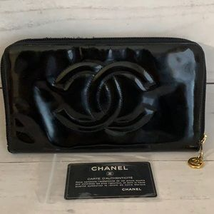 CHANEL Coco Mark Enamel Zipped Long Wallet